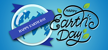 blue paper cut style illustration earth day background