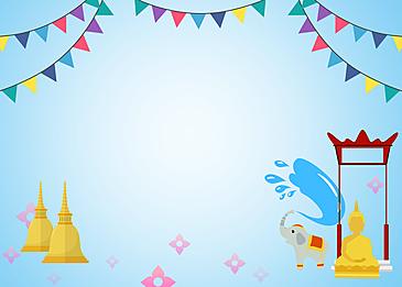buddha statue under the ribbon thailand songkran festival illustration