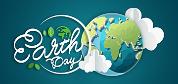 cartoon paper cut style blue illustration earth day background