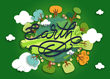 cartoon paper cut style forest illustration earth day background