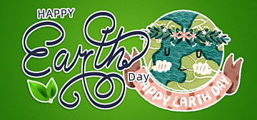 cartoon watercolor style gradient illustration earth day background