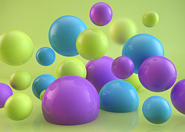 colorful 3d stereo ball on green background