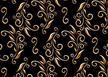 golden line black european print seamless background