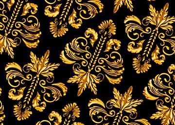 golden retro style european print seamless background