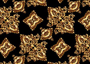 golden retro style line european print seamless background