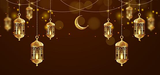 golden yellow moon lantern eid mubarak decoration