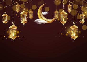 golden yellow star dotted moon eid mubarak decoration