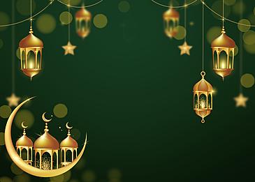 green background star and moon decoration eid mubarak