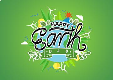green cartoon gradient illustration earth day background