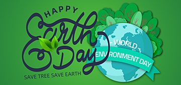 green gradient paper cut style example illustration earth day background
