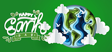 green paper cut style illustration illustration earth day background