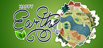 green watercolor style illustration earth day background