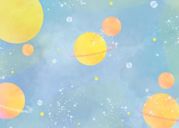 orange blue watercolor planet background