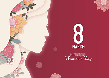 paper cut style international womens day background