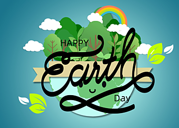 paper cut style rainbow illustration earth day background