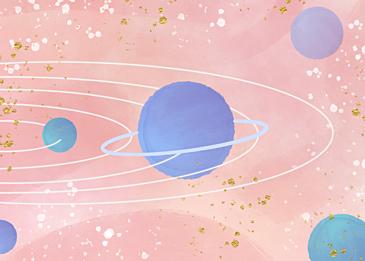 pink blue gold foil watercolor planet background