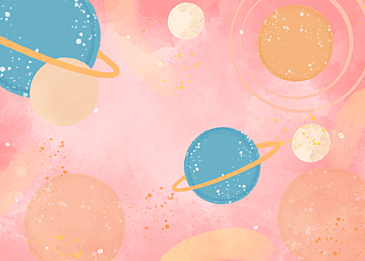 pink blue watercolor planet background