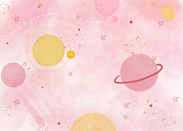 pink gold foil watercolor planet background