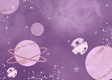 purple cute watercolor planet background
