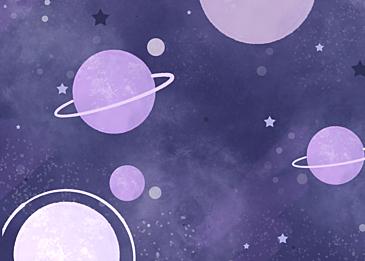 purple stars watercolor planet background