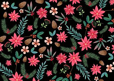 seamless retro flower pine cone background