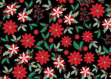 seamless retro flowers red background