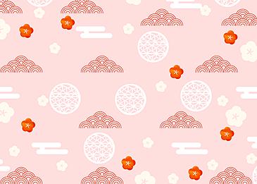 seamless retro geometric wave plum blossom