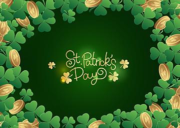 st patricks green clover decoration background