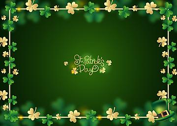 st patricks green shamrock gradient background