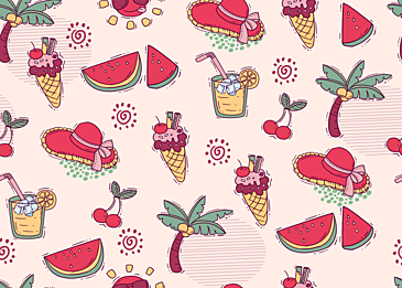 summer cute fruit tile background