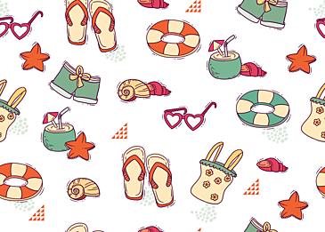 summer cute vacation travel tile background