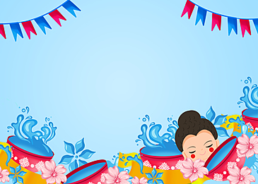 thai songkran festival cartoon background painting