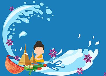 thai songkran festival cartoon monks background