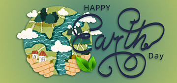 watercolor style cartoon illustration earth day background