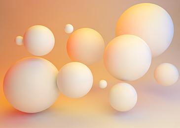white 3d three dimensional ball on orange background