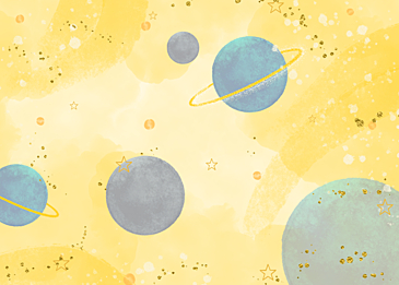 yellow blue watercolor planet background