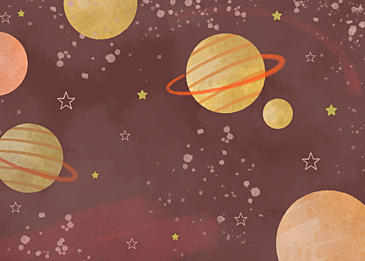 yellow brown watercolor planet background