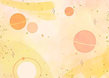 yellow gold foil watercolor planet background