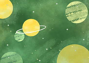 yellow green stars watercolor planet background