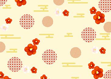 yellow seamless retro geometric plum blossom