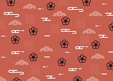 seamless auspicious clouds retro geometric plum blossom