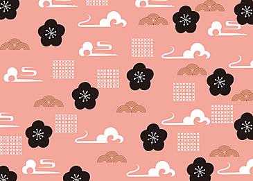 seamless retro geometric auspicious clouds wave plum blossom