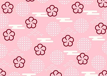 seamless retro geometric linear plum blossom