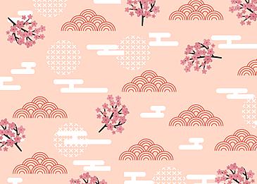 seamless retro geometric plum blossom