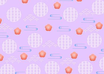 seamless retro geometric plum blossom tile
