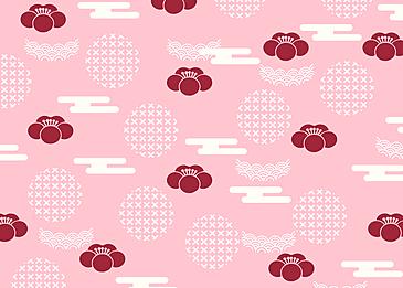 seamless retro geometric red plum blossom