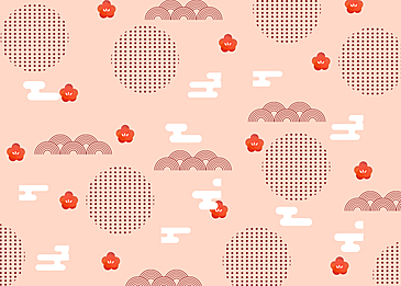 seamless retro wave geometric plum blossom