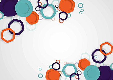 blue orange business background hexagon geometric figures