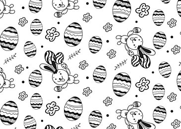 black and white simple line easter egg cute background