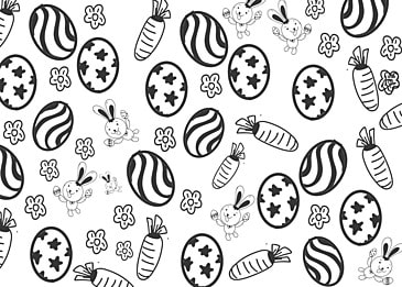 cute black and white lines easter background